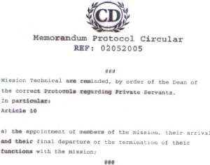 Diplomatic Protocol Circular
